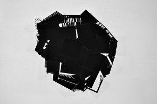 Confluence - 2012 - installation, 35 photographies 30 x 30 cm en noir et blanc collées sur un mur blanc, dimension variable