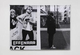 Sans titre - 2013 - photographie en noir et blanc, impression sur bâche plastifiée, barres acier, 150 x 200 cm