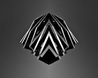 Spaceship #4 - 2018 - photographie noir et blanc, papier photo mat, impression laser, contre-collage sur PVC blanc - 50 x 40 cm